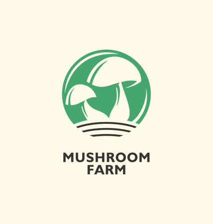 Mushroom farm logo. Rounded green symbol with mushrooms in negative space. Agriculture industry icon graphic. Vector food simple minimalist illustration.  イラスト・ベクター素材