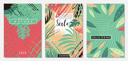 Nature floral set of banners, sale promotion posters, wedding invitations, annual covers, seasonal spring and summer templates, birthday cards, plants patterns. Vector graphic illustration.  イラスト・ベクター素材