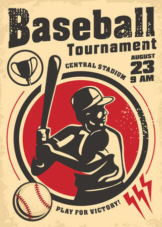 Baseball tournament vintage poster design with baseball player holding a bat and ball. Sports and recreation old artistic flyer template. Vector image.  イラスト・ベクター素材
