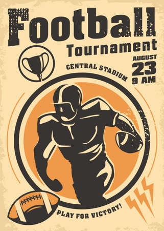 American football promo poster design for sport event. Rugby flyer with football player running with ball. Retro vector commercial sign template.