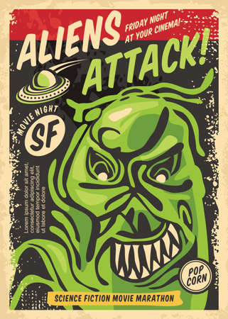 Monster from outer space retro poster design for film festival. Aliens and creatures attacking movie theme vector advertisement. Cinema event for science fiction and scary movies.  イラスト・ベクター素材