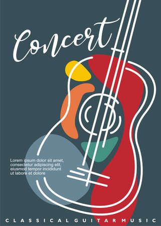 Artistic poster artwork for classical guitar music concert. Contemporary style abstract line art guitar drawing. Musical event vector flyer illustration concept.  イラスト・ベクター素材