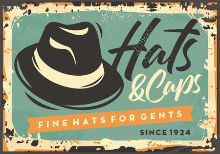Hats and caps for gentlemen vintage tin sign for men fashion store.  Clothes and accessories retro poster design layout with panama hat. Vector old signboard illustration.