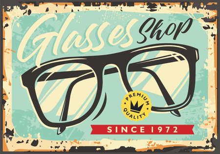 Glasses shop retro sign commercial advertisement. Optician store vintage store signpost. Optical contact lenses old antique vector layout.