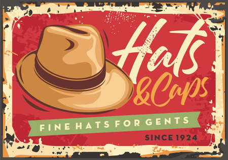 Men fashion store sign with hats and caps. Hat on the red background retro poster design. Vector illustration.