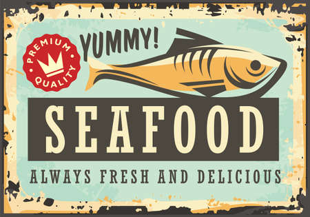 Marine restaurant with daily fresh fish . Seafood menu retro sign decorative layout. Vector illustration for bistro or Mediterranean food diner.  イラスト・ベクター素材