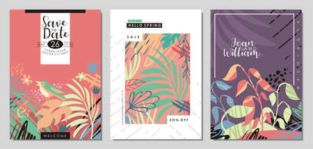 Wedding invitation design, floral spring notebook or card cover, seasonal sale posters and flyers. May nature plants and flowers placard backdrop concept. Vector collection.