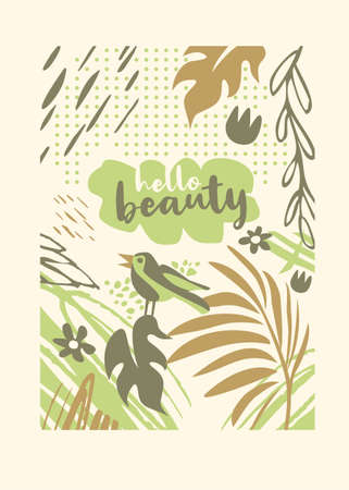 Sprig floral nature apparel design pattern with bird, plants, dots and flowers. Tee shirt graphic template perfect for woman clothing and accessories. Vector illustration.