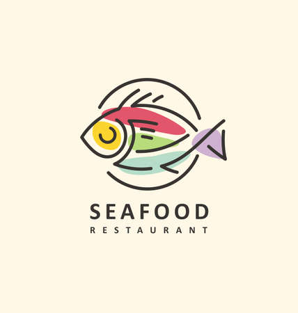 Artistic contemporary abstract colorful logo for seafood restaurant. Food symbol with line art fish on a plate. Bistro vector icon.  イラスト・ベクター素材