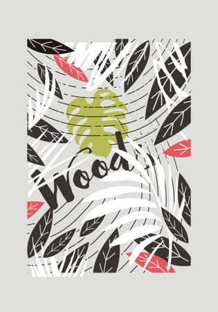 Jungle forest pattern with exotic plants and leaves. Print template for t-shirts, textile, fabric, apparels, pillows, cloths. Vector abstract floral design.  イラスト・ベクター素材