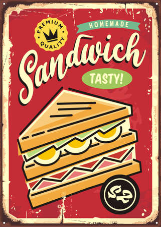 Home made sandwich retro commercial sign advertisement on old red metal background with tasty triple sandwich and rusty texture. Vintage vector illustration for fast food restaurant. Snacks graphic.  イラスト・ベクター素材