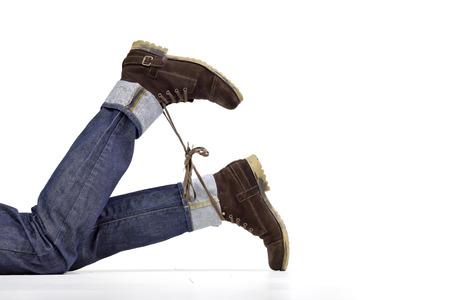 Travesura cordones de los zapatos Foto de archivo - 41618620