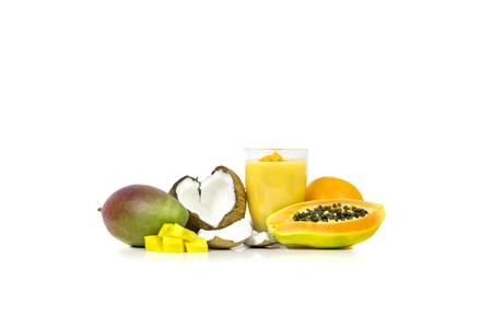 milkshake: Tropical milkshake coconut, mango, papaya, orange and watermelon Stock Photo