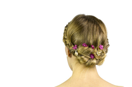 upsweep: With some ups weep hairstyle decorative flowers.