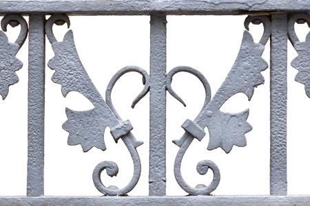 puertas de hierro: Hierro forjar decoración sobre un fondo blanco.