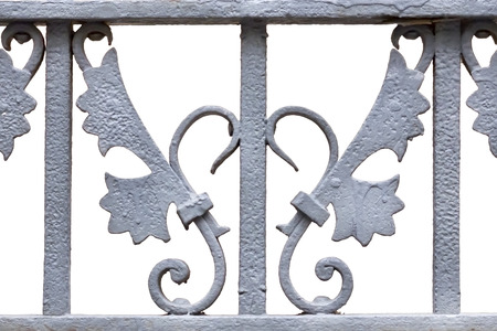 iron fence: Iron forge decoration over a white background.