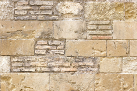 block: Background image of a wall made with bricks and blocks