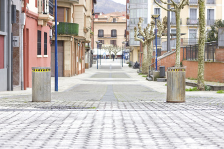 Pedestrian street closed with a pair of automatic bollards Stock Photo