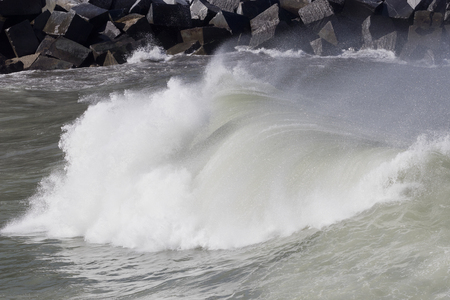 Breaking wave with white foam