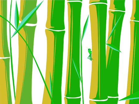 Vector images with a grasshopper resting on bamboo plants over a white background.
