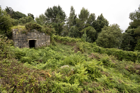 Abandoned stone house in Lord John Hay fort (Guipuzcoa, Basque country, Spain).