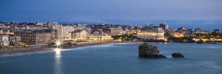 twilight: Biarritz Grande Plage beach at twilight