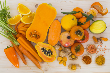 orange color: Orange vegetables and fruit Stock Photo