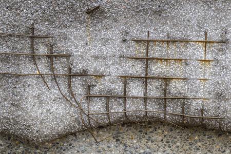 exposed: Exposed steel mesh concrete reinforcement