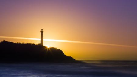 Biarritz Lighthouse Sunset Standard-Bild