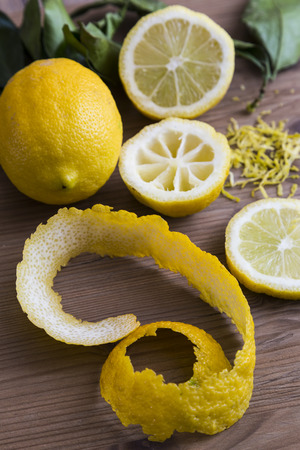 zest: Lemons with peel and zest Stock Photo