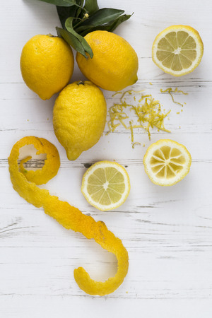 peel: Lemon peel slices and zest