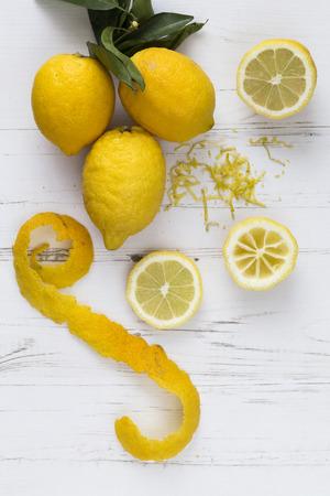 Lemon peel slices and zest