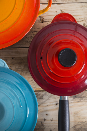 pans: Colourful pots and pans Stock Photo