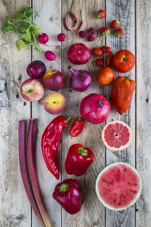 Red fruit and veg Stock Photo