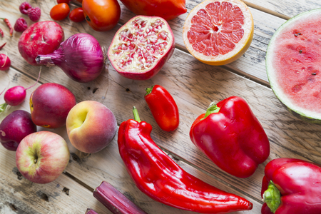 Red vegetables and fruit