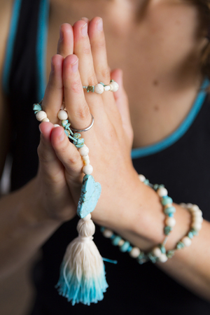 concentration: Yoga Namaste with Mala Beads