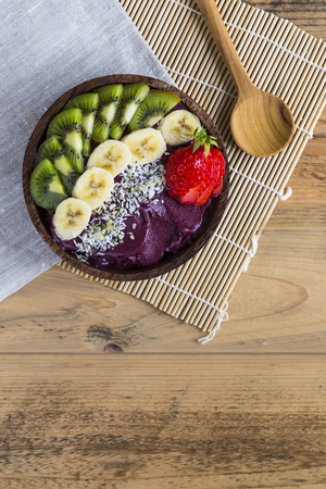 Acai bowl with napkin and spoon Stok Fotoğraf