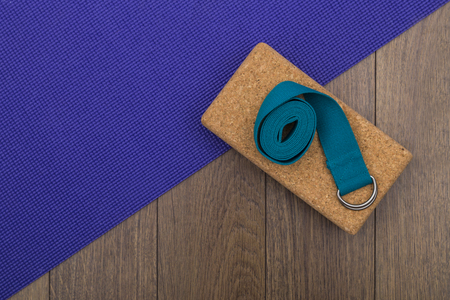 Yoga mat with block and strap