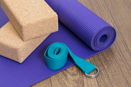 Yoga mat, strap and blocks