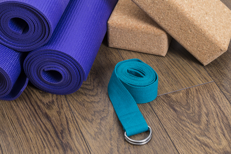 Yoga mats with strap and blocks