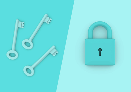 Locked padlock with three keys. Minimalist style concept for business, careers, key to success, unlocking potential and security Standard-Bild