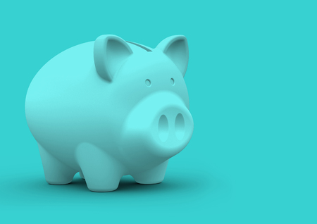 Piggy bank minimalist concept for finance savings and accounting