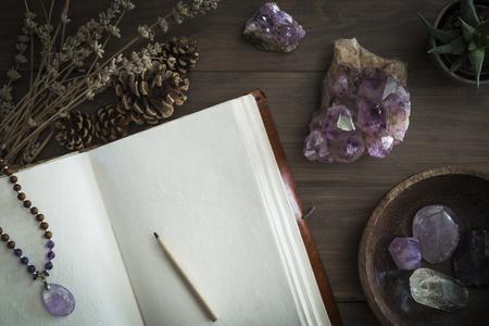 Diario o quaderno aperto rilegato in pelle circondato da cristalli di ametista pigne di lavanda essiccate e piante succulente Archivio Fotografico