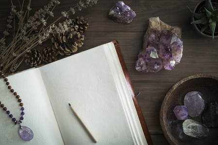 Open leatherbound journal or notebook surrounded by amethyst crystals dried lavender pine cones and succulent plant