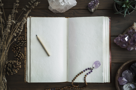 Open leatherbound notebook or writing journal surrounded by crystals plants and foliage