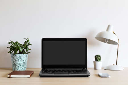 Laptop on a wooden desk with plants, journal, cellphone and lamp