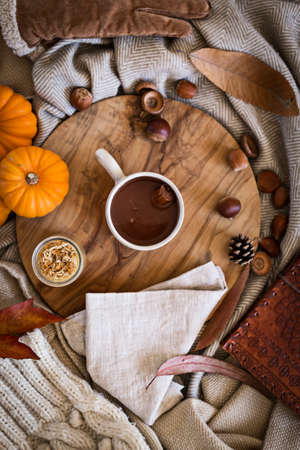 Flat lay view of a cup of hot chocolate on a wooden board in the autumn, surrounded by fall objects and colours, such as pumpkins, leaves and woolly clothes