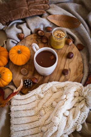 Mug of hot chocolate surrounded by autumn objects and colours like leaves, pumpkins and woolly clothes