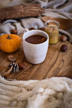 Mug of hot chocolate on wooden board in the fall with leaves, pumpkins and woolly clothes