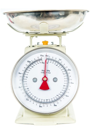 Kitchen weighing Scales Isolated On Awhite Background photo
